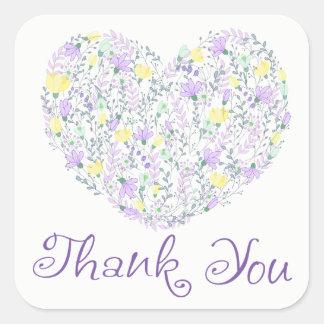 Adesivo Quadrado Obrigado floral você flores da lavanda de Purple