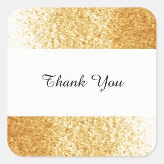 Adesivo Quadrado Obrigado goldtone do brilho do falso você