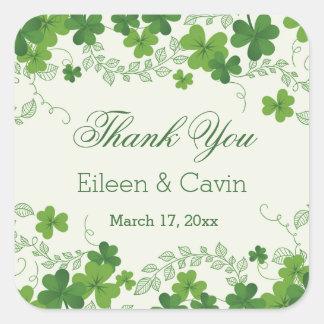 Adesivo Quadrado Obrigado irlandês do casamento do trevo você