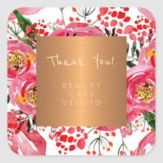 Adesivo Quadrado Obrigado metálico das peônias do cobre do estúdio