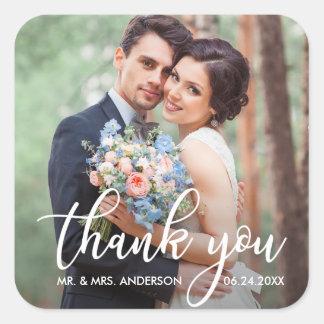 Adesivo Quadrado Obrigado moderno do casamento você foto do noivo