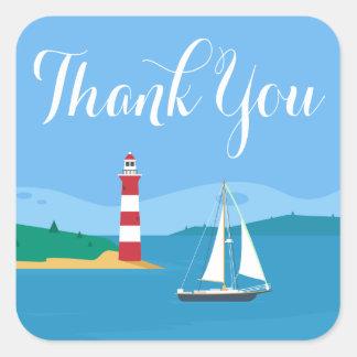 Adesivo Quadrado Obrigado náutico você azul do farol & do veleiro