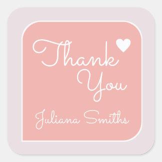 Adesivo Quadrado obrigado/obrigados cor-de-rosa