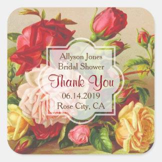 Adesivo Quadrado Obrigado os rosas do Victorian do vintage do