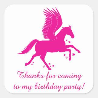 Adesivo Quadrado Obrigado para a festa de aniversário de vinda com