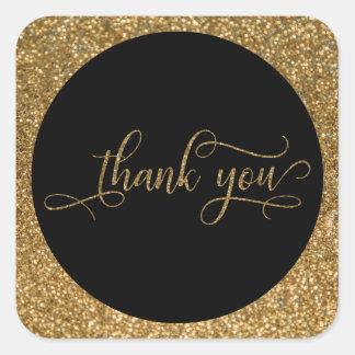 Adesivo Quadrado Obrigado para script, a beira do brilho do ouro &