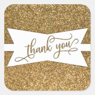 Adesivo Quadrado Obrigado para script, o brilho do ouro & o crachá