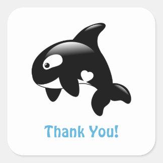 Adesivo Quadrado Obrigado pequeno bonito da orca você