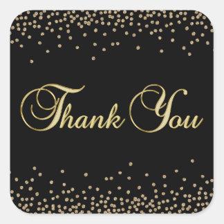 Adesivo Quadrado Obrigado preto original elegante dos confetes do
