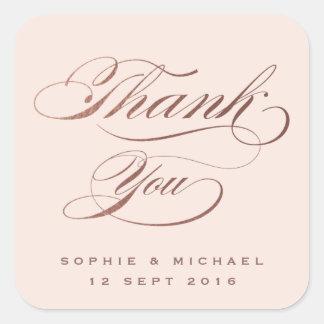 Adesivo Quadrado Obrigado que cor-de-rosa da caligrafia da folha do