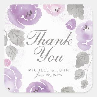 Adesivo Quadrado Obrigado roxo dos rosas da aguarela você favorece