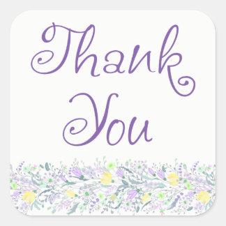Adesivo Quadrado Obrigado roxo floral você flores da lavanda do