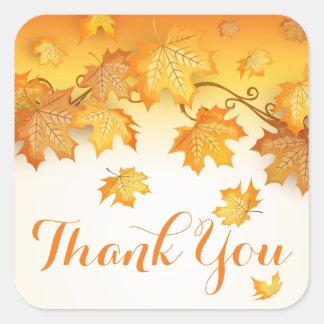 Adesivo Quadrado Obrigado rústico das folhas da queda você