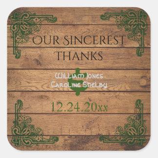 Adesivo Quadrado Obrigado rústico de Claddagh do céltico você