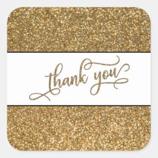 Adesivo Quadrado Obrigado Script, brilho do ouro com banda branca