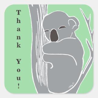 Adesivo Quadrado Obrigado sonolento do verde do Koala você