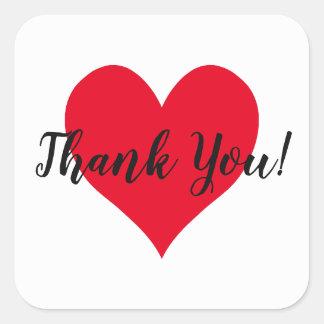 Adesivo Quadrado Obrigado vermelho brilhante do coração você