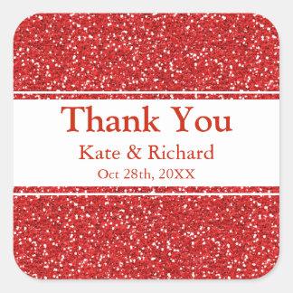 Adesivo Quadrado Obrigado vermelho do casamento do brilho do falso