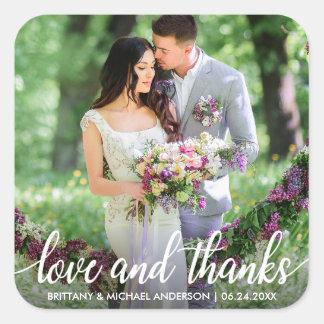 Adesivo Quadrado Obrigado Wedding você ama e agradece à foto
