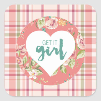 Adesivo Quadrado Obtenha-lhe o rosa da menina e a xadrez das flores