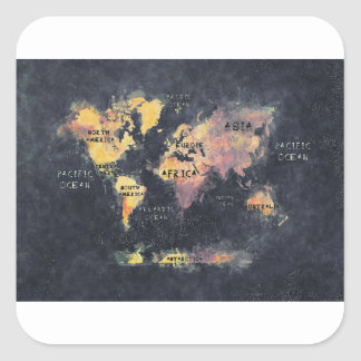 Adesivo Quadrado OCEANOS e continentes do mapa do mundo
