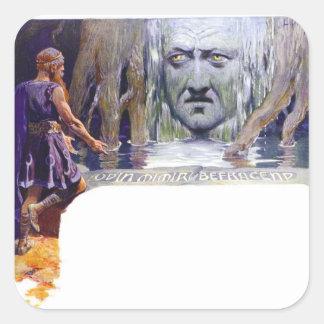Adesivo Quadrado Odin na frente de Mimir