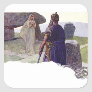 Adesivo Quadrado Odin na frente de um Völva