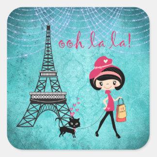 Adesivo Quadrado Oh menina e gato de Paris do La do La com torre