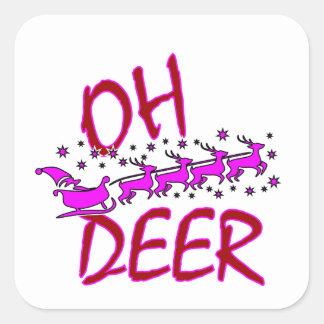 """Adesivo Quadrado """"Oh os cervos"""" projetam com o papai noel para o"""