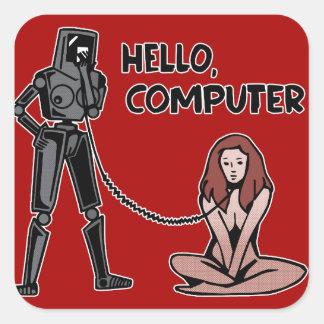 Adesivo Quadrado Olá!, computador