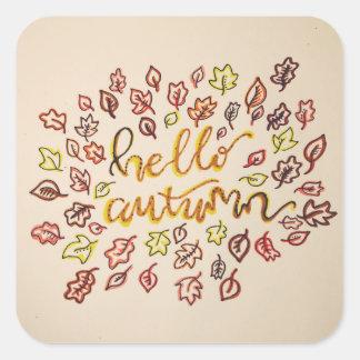 Adesivo Quadrado Olá! outono