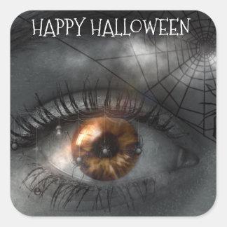 Adesivo Quadrado Olho Mystical assustador feliz & Spiderweb do Dia