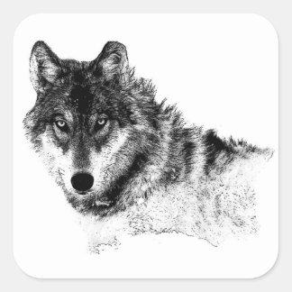 Adesivo Quadrado Olhos inspirados brancos pretos do lobo