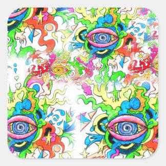 Adesivo Quadrado Olhos psicadélicos