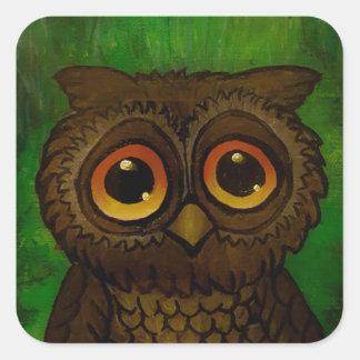 Adesivo Quadrado Olhos tristes da coruja