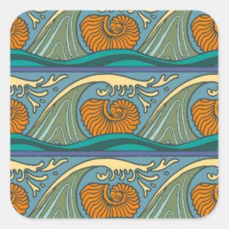 Adesivo Quadrado Ondas de oceano azuis coloridas