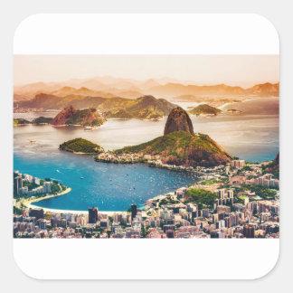 Adesivo Quadrado Opinião da arquitectura da cidade de Rio de