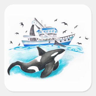 Adesivo Quadrado Orca e o barco