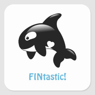 Adesivo Quadrado Orca pequena bonito FINtastic (fantástico)