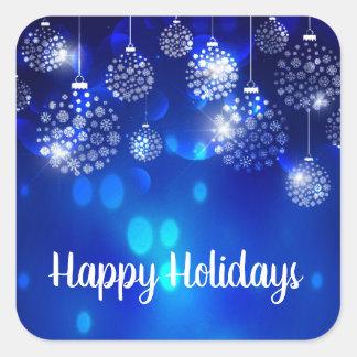 Adesivo Quadrado Ornamento brancos no feriado feliz azul