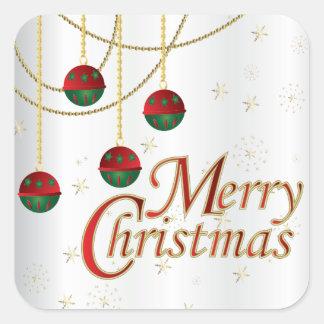 Adesivo Quadrado Ornamento do Feliz Natal no branco
