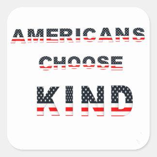 Adesivo Quadrado Os americanos escolhem o tipo