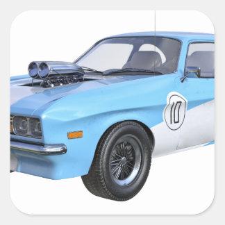 Adesivo Quadrado os anos 70 azuis e carro branco do músculo
