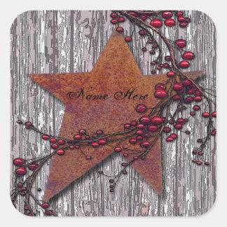 Adesivo Quadrado Os conselhos do celeiro oxidaram estrela