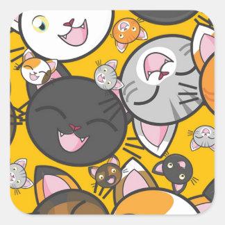 Adesivo Quadrado Os gatos de riso