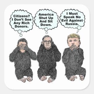 Adesivo Quadrado Os macacos do trunfo - trunfo, Ryan, McConnell