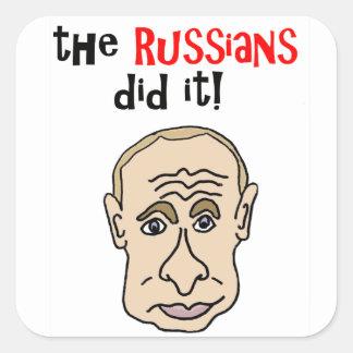 Adesivo Quadrado Os russos fizeram-no desenhos animados de Putin