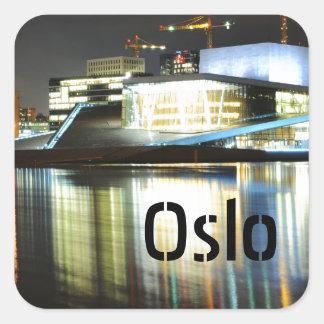 Adesivo Quadrado Oslo, Noruega na noite