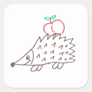 Adesivo Quadrado Ouriço doce com maçã autocolante
