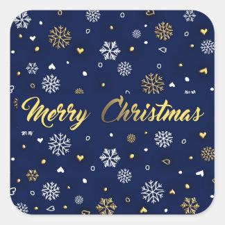 Adesivo Quadrado Ouro do Feliz Natal & flocos de neve brancos
